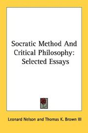 Cover of: Socratic method and critical philosophy