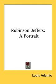 Cover of: Robinson Jeffers: a portrait