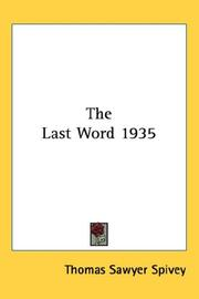 Cover of: The Last Word 1935