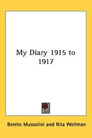 Cover of: My Diary 1915 To 1917