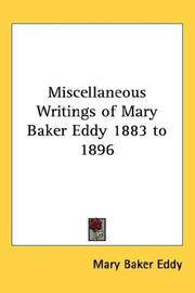 Cover of: Miscellaneous Writings of Mary Baker Eddy 1883 to 1896
