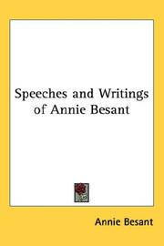 Cover of: Speeches and Writings of Annie Besant