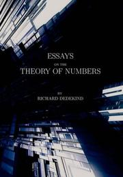 Cover of: Essays on the theory of numbers