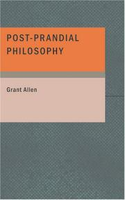 Cover of: Post-prandial philosophy
