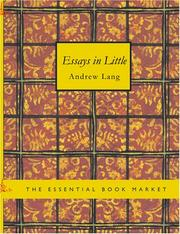 Cover of: Essays in Little (Large Print Edition) | Andrew, Lang