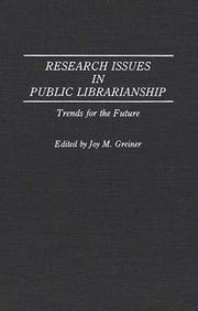Cover of: Research issues in public librarianship |