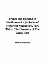 Cover of: France and England in North America (A Series of Historical Narratives), Part Third