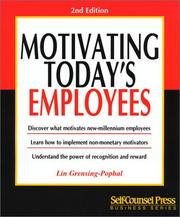 Cover of: Motivating today's employees