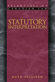 Cover of: Statutory Interpretation (Essentials of Canadian Law)