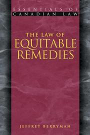 Cover of: The Law of Equitable Remedies (Essentials of Canadian Law)