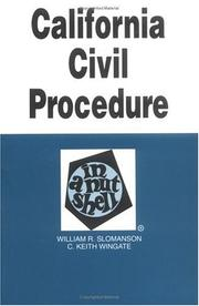 Cover of: California civil procedure in a nutshell