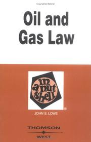 Cover of: Oil and gas law in a nutshell