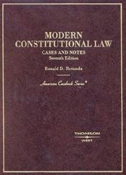 Cover of: Modern constitutional law