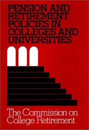 Cover of: Pension and Retirement Policies in Colleges and Universities