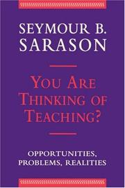 Cover of: You are thinking of teaching?