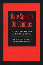 Cover of: Hate Speech On Campus |