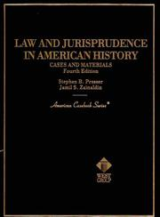 Cover of: Law and jurisprudence in American history |
