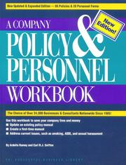 Cover of: A company policy & personnel workbook | Ardella R. Ramey