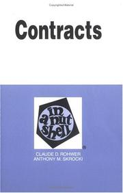 Cover of: Contracts in a nutshell | Claude D. Rohwer