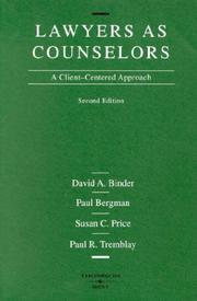 Cover of: Lawyers as Counselors | David A. Binder