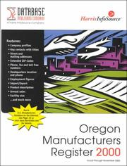Cover of: Oregon Manufacturers Register 2000 (Oregon Manufacturer's Register)