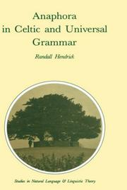 Cover of: Anaphora in Celtic and universal grammar