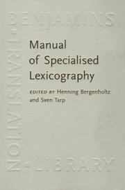 Cover of: Manual of Specialized Lexicography |