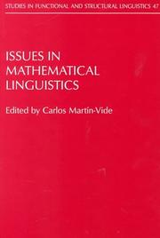 Cover of: Issues in mathematical linguistics