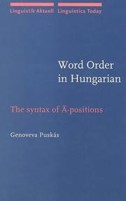 Cover of: Word order in Hungarian