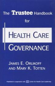Cover of: The Trustee handbook for health care governance