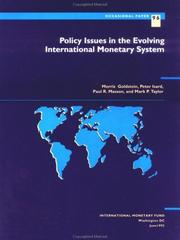 Cover of: Policy issues in the evolving international monetary system | Morris Goldstein ... [et al.].
