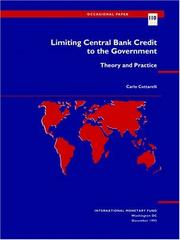 Cover of: Limiting central bank credit to the government