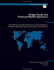 Cover of: Hedge funds and financial market dynamics | by a staff team led by Barry Eichengreen and Donald Mathieson, with Bankim Chadha ... [et. al.].