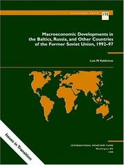 Cover of: Macroeconomic developments in the Baltics, Russia, and other countries of the former Soviet Union, 1992-97