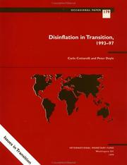 Cover of: Disinflation in transition, 1993-97