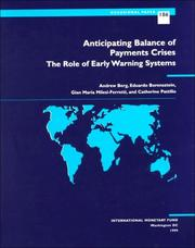 Cover of: Anticipating balance of payments crises | Andrew Berg ... [et al.].