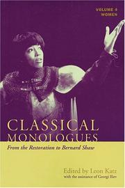 Cover of: Classical monologues from Aeschylus to Bernard Shaw |