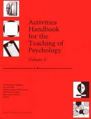 Cover of: Activities handbook for the teaching of psychology | Ludy T. Benjamin, Jr., Kathleen D. Lowman, editors.