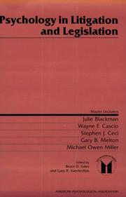 Cover of: Psychology in litigation and legislation |