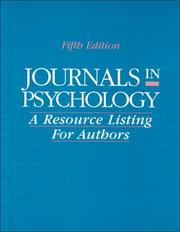 Cover of: Journals in Psychology | American Psychological Association.