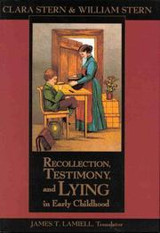 Cover of: Recollection, Testimony, and Lying in Early Childhood
