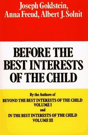 Cover of: Before the Best Interests of the Child