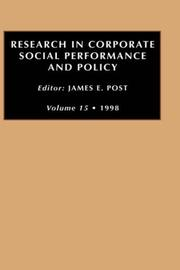 Cover of: RES CORP SOC PER V15 (Research in Corporate Social Performance and Policy)