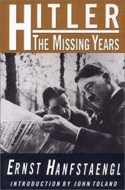 Cover of: Hitler: The Missing Years