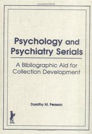 Cover of: Psychology and Psychiatry Serials