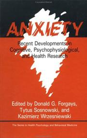 Cover of: Anxiety