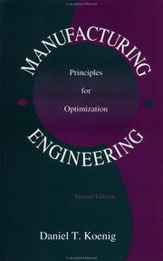 Manufacturing engineering by Daniel T. Koenig