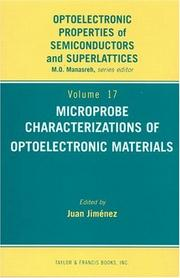 Cover of: Microprobe Characterization of Optoelectronic Materials (Optoelectronic Properties of Semiconductors and Superlattices) | Juan Jimenez