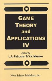 Cover of: Game Theory and Applications IV (Game Theory & Applications) |