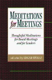Cover of: Meditations For Meetings